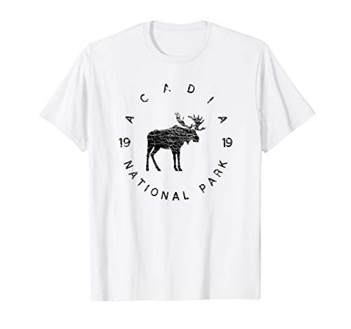 Acadia National Park Maine USA Moose Vintage Design Black T-Shirt ()