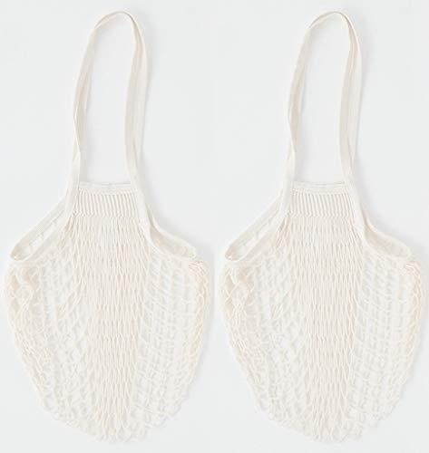 Cotton Reusable Grocery Bags - Net Bag String Shopping Bag Produce Bags Beach Bags Mesh Bags Foldable Tote Set of 2 Long Handles ()