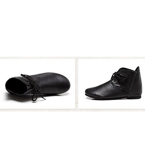 Vogstyle Signore Stivali Di Pelle Scarpe Nuove Flat Art 2 Black