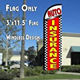 Auto Insurance (Checkered) Windless Polyknit Feather Flag (3 x 11.5 feet)