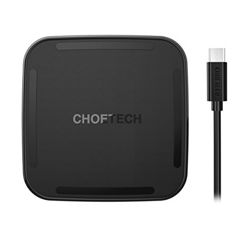 Wireless Charger, CHOETECH Type C [Sleep-Friendly] QI Wireless Charging Pad for iPhone 8/8 Plus/X, Samsung Galaxy Note 8, S8, S8 Plus, S6 Edge Plus and Other Qi-Enabled Devices (Adapter Not Included)