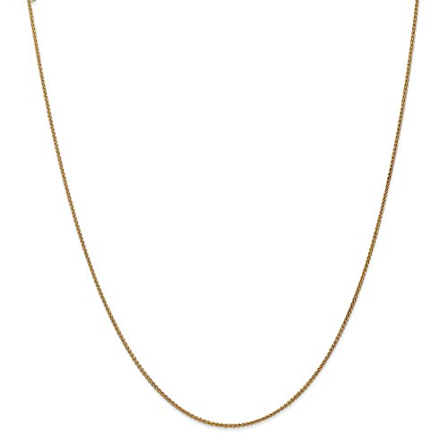 Bismark Designer Necklace - 14k Yellow Gold 1.2mm Spiga Link Wheat Chain Necklace 20 Inch Pendant Charm Fine Jewelry Gifts For Women For Her