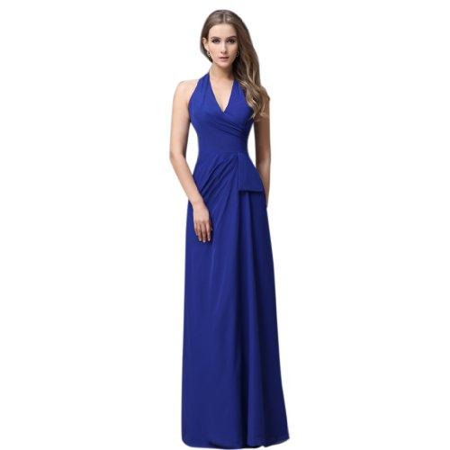 Kaiserblau Abendkleider Kleidungen Damen Chiffon Neckholder Linie Etui Dearta Bodenlang 87z0Az