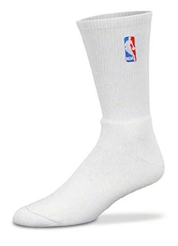 NBA Logoman White Crew Socks - Large 10-13