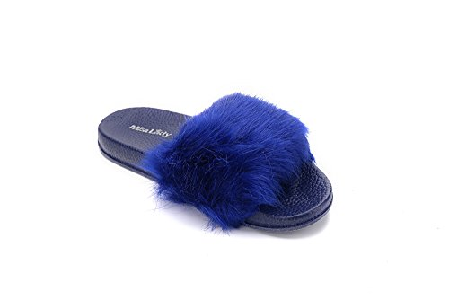 for Summer Blue Fur Fuzzy Beach Slipper royal Womens Outdoor Slides Skid Casual Anti Sandals Shoes 0xw4FZ