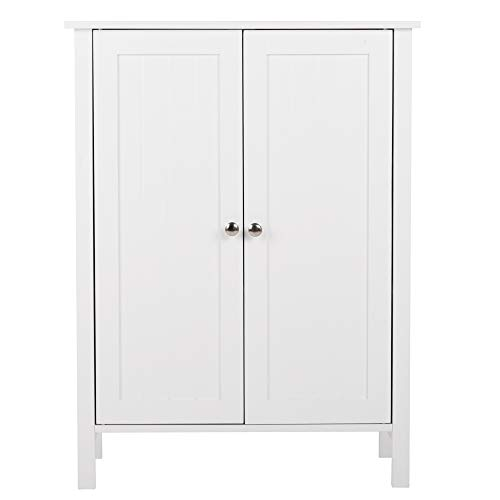 MOONBUY Bathroom Floor Cabinet,Wooden Side Storage Organizer Storage for Homes Gardens Office Furniture with 4 Types White (White-1) from MOONBUY