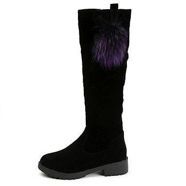 Black EU39 Knee Toe US8 Combat Women'S Boots RTRY Shoes UK6 CN39 For High Boots Winter Boots Nubuck Leather Casual Round qCzvzwZT