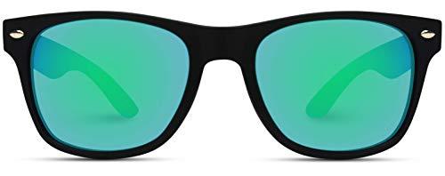 WearMe Pro - Horn Rimmed Glossy Frame Sunglasses Mirror Lens -