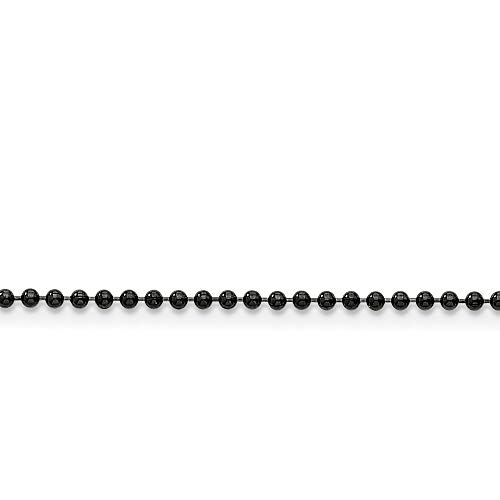 Roy Rose Jewelry Stainless Steel 2mm IP Black-Plated Ball Chain 24'' inches Length