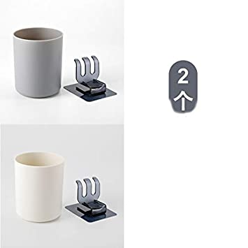 LAOLIU Recipiente para el cepillo de dientes montado en la pared sin cepillo para lavar taza taza para beber, (2 paquetes) gris + blanco: Amazon.es: Hogar