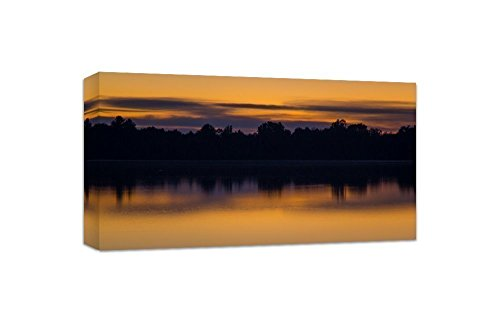 Nature Canvas Art Abstract Wall Decor Sunset Photography 10 x 20 Wolf Lake Michigan by Nature's Vista Photography