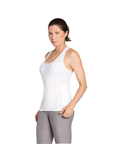 Keep it Smooth Women's Athletic Cami Sports Tank with Built in Bra, White, M