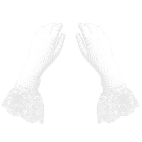 Prettyia 全2色 長手袋 花嫁手袋 グローブ ちょう結び レース レディース 手首 パーティー 宴会 結婚式 装飾