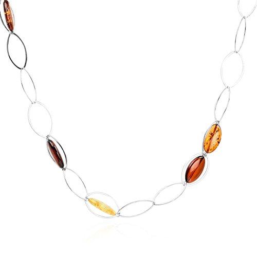 Noda sautoir femme - mailles ovales - argent sterling 925et ambre multicolore -70cm