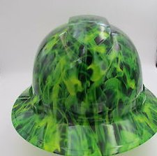 Suspension Inferno - Wet Works Imaging Customized Pyramex Full Brim Green Inferno Explosion Hard Hat With Ratcheting Suspension