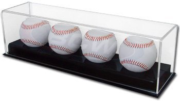 BCW Deluxe Acrylic (4) Baseball Holder Display - Sports Memoriablia Display Case - Sportscards Collecting - Sports Memorabilia Display Case