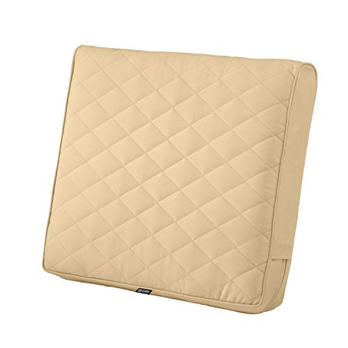 Classic Accessories Montlake Water-Resistant 25 x 22 x 4 Inch Wide Back Patio Quilted Lounge Cushion, Chamomile
