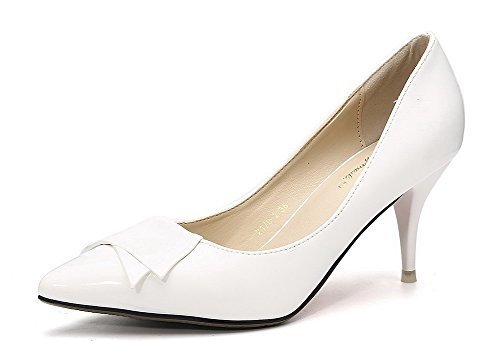 Aalardom Femmes Matériau Souple Solide Chaton-talons Pointu Chaussures-chaussures Avec Bowknot Blanc