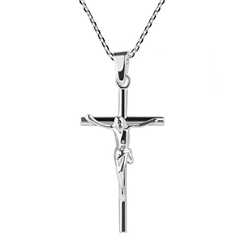 Faithful Devotion Crucifix Cross .925 Sterling Silver Pendant Necklace - Round Sterling Silver Crucifix
