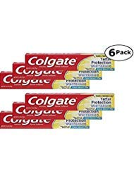 Colgate Anticavity, Crisp Mint, Tartar Protection Whitening Gel Toothpaste, 6 Pack - 2.5 Oz Ea (Total 15 Oz)
