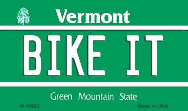 Bike It Vermont State License Plate Novelty Magnet M-10693 MINI Licence Plate Magnet by Smart Blonde