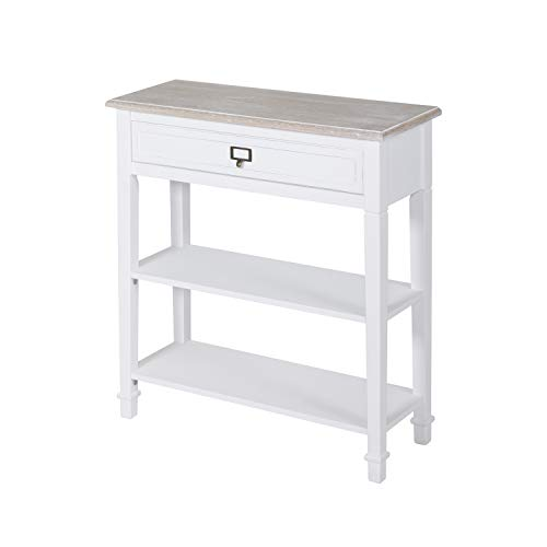 Kinsuite White Console Table with Drawer and Storage Shelf Accent Sofa Table for Entryway Living Room Hallway (Drawers Tables With Accent)