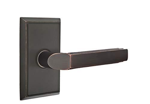 (Emtek Privacy Set, Rectangular Rosette, Milano Lever, Oil Rubbed Bronze, LH)