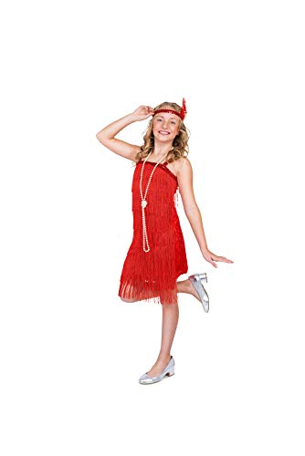 Flapper Costume Girls, 20s Dress with Headband, Kids 7-8 Years, Red, Large
