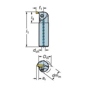 Sandvik Coromant RAG123D05-20B Steel CoroCut 1-2 Boring Bar for Grooving Holder, 20 mm Shank Diameter, 0.276