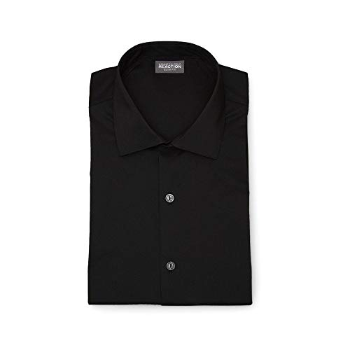 Kenneth Cole REACTION Men's Dress Shirt Technicole Slim Fit Stretch Solid, Black, 18.5
