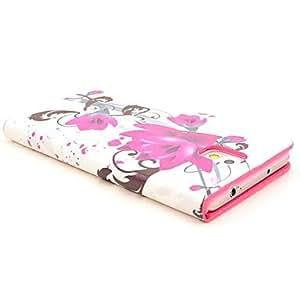 MOFY-Funda de cuero de las flores florales del patr—n de la PU con la tarjeta de soporte para Samsung Galaxy Nota 3 N9000