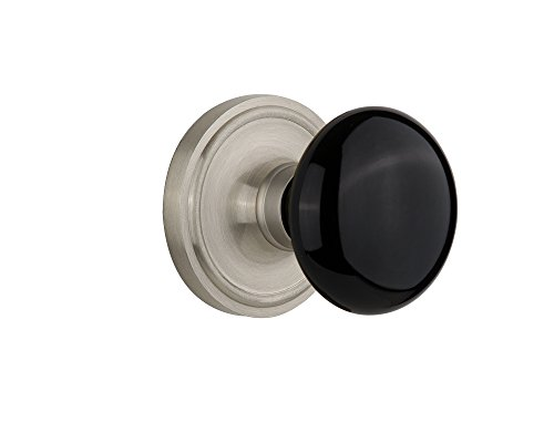 (Nostalgic Warehouse Classic Rosette with Black Porcelain Door Knob, Privacy - 2.375