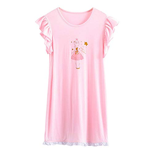 JWWN Kid Girls Summer Princess Nightgown Dress Cotton Short Sleeve PJs Sleepwear,Pink 4T]()