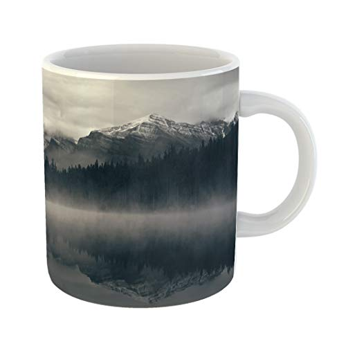 Emvency Coffee Tea Mug Gift 11 Ounces Funny Ceramic Lake Herbert in Foggy Morning Glaciers Mountain and Reflection Banff National Gifts For Family Friends Coworkers Boss Mug
