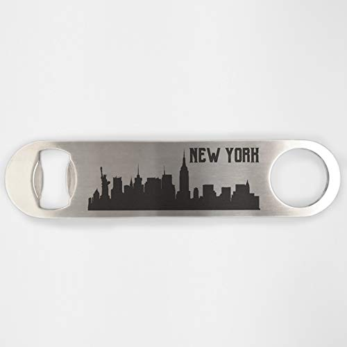 New York Skyline Stainless Steel Heavy Duty Flat Bar Key Beer Laser Etched Bottle Opener