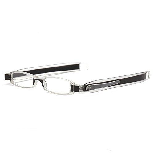 Lightweight Compact Reader Rectangular Reading Glasses for Men Women Comfort Prescription Eyewear Reader w/Pen Clip Tube Case Laura Fairy (Black Frame, 2.0)