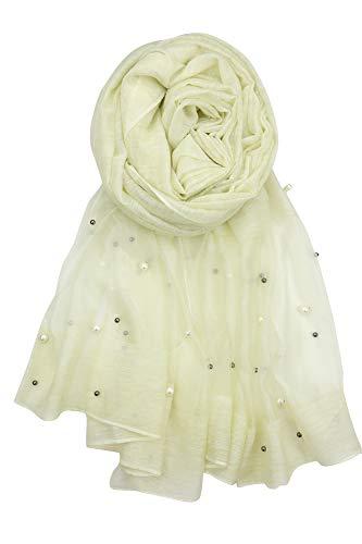 - Achillea Women's Elegant Pearl Beaded Embellished Sheer Scarf Shawl Wrap (Light Yellow)