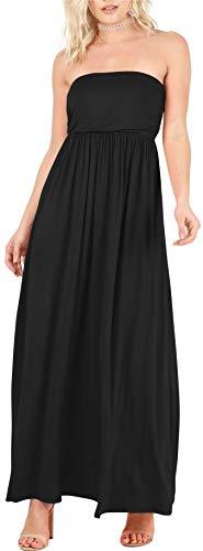 Black Maxi Dresses for Women Black Tube Dress Black Off The Shoulder Dress Black Strapless Dress Long Black Dress (Size Medium US 2-4, Black)