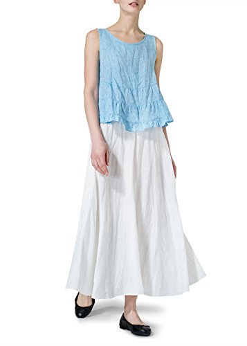 ss Pleated Blouse-M-Two Tone Sky Blue (Linen Sleeveless Blouse)
