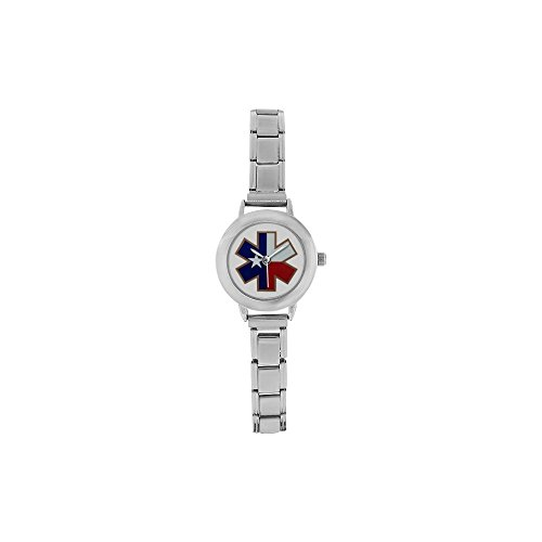 Personalized Watch Star of Life Texas State Flag with Iron Plate Round Italian Charm stainless steel Women's Watch