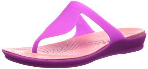 crocs Women's Rio Flip Flop, Vibrant Violet/Melon, 9 M US