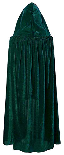 Antjoint Kids Hooded Cloak Velvet Cape Halloween Costumes Masquerade Party Role Cosplay (Dark Green)