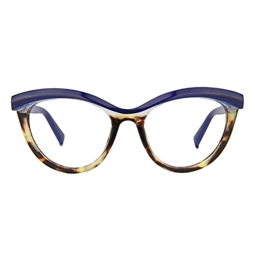 597057e75a6 Zeelool Women s Oversized Browline Cat Eye Glasses Frame with Clear Lens  Sean FP0124-02 Blue
