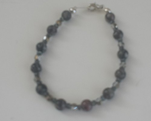 Fossil Stone, Swarovski Crystal, Seed Beads, Silver-Plated (Swarovski Seed Beads)