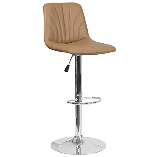 Chrome Stools (Flash Furniture Contemporary Cappuccino Vinyl Adjustable Height Barstool with Chrome Base)