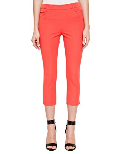 LE CHÂTEAU Women's Cotton Blend Slim Leg Crop Pant,6,Orange