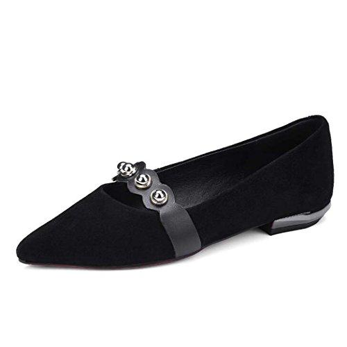 de Ocasionales Talla 36 Estrecha 39 34 Zapatos Las Punta o Color Mujeres Tama On Zapatos Verde de Zapatos Planos Negro Desnudos Bombas Slip Negro q50a0dg4