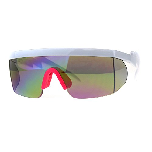 Flat Top Crooked Bolt Arm Goggle Style Color Mirror Shield 80s Sunglasses White Pink -