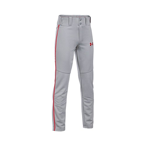 Boy's Under Armour Boys' Heater Piped Baseball Pants, Baseball Gray (077)/Red, Youth - Pants Armor