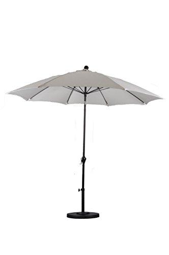Glass Ribs (California Umbrella 9' Round Aluminum Pole Fiberglass Rib Umbrella, Crank Open, Push Button 3-Way Tilt, Bronze Pole,)